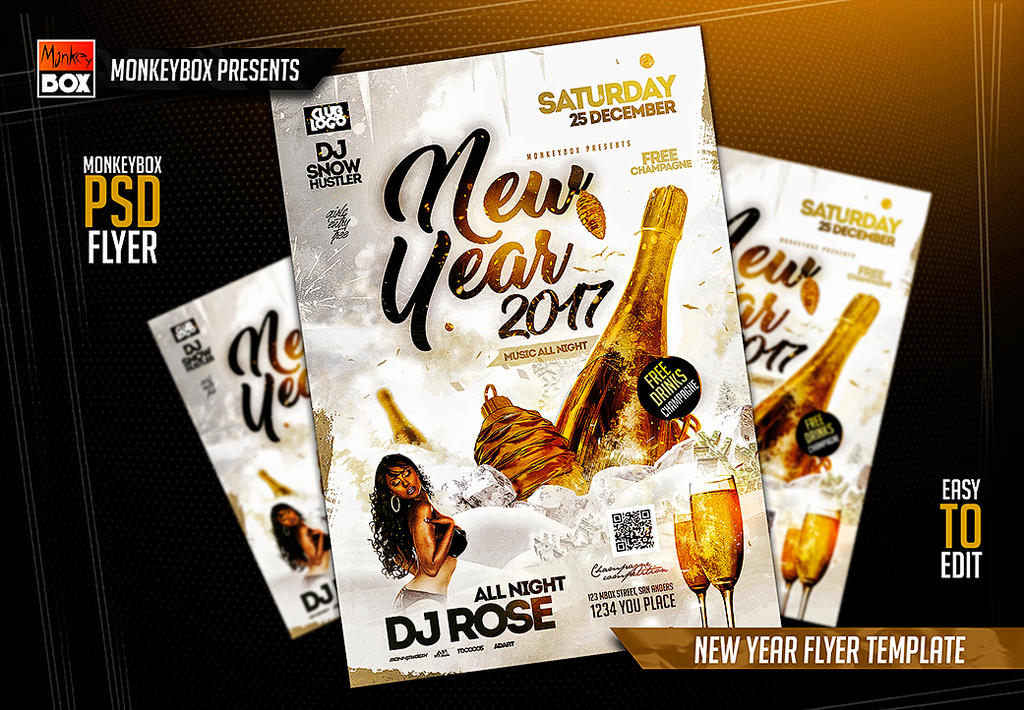 new year flyer template by andydreamm on deviantart