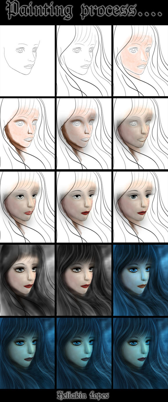 Sweet vampire painting process by Heliakin