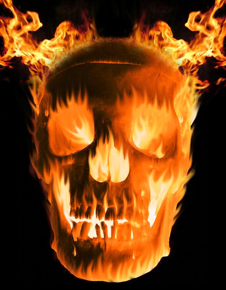 Ghostrider Skull By Blackmoonrose13