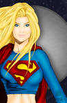 Super Girl in Front of Moon