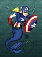 Captain America Mermaid by Blackmoonrose13