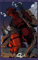 Hellboy Brooding by Blackmoonrose13