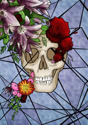 Flower Skull by Blackmoonrose13