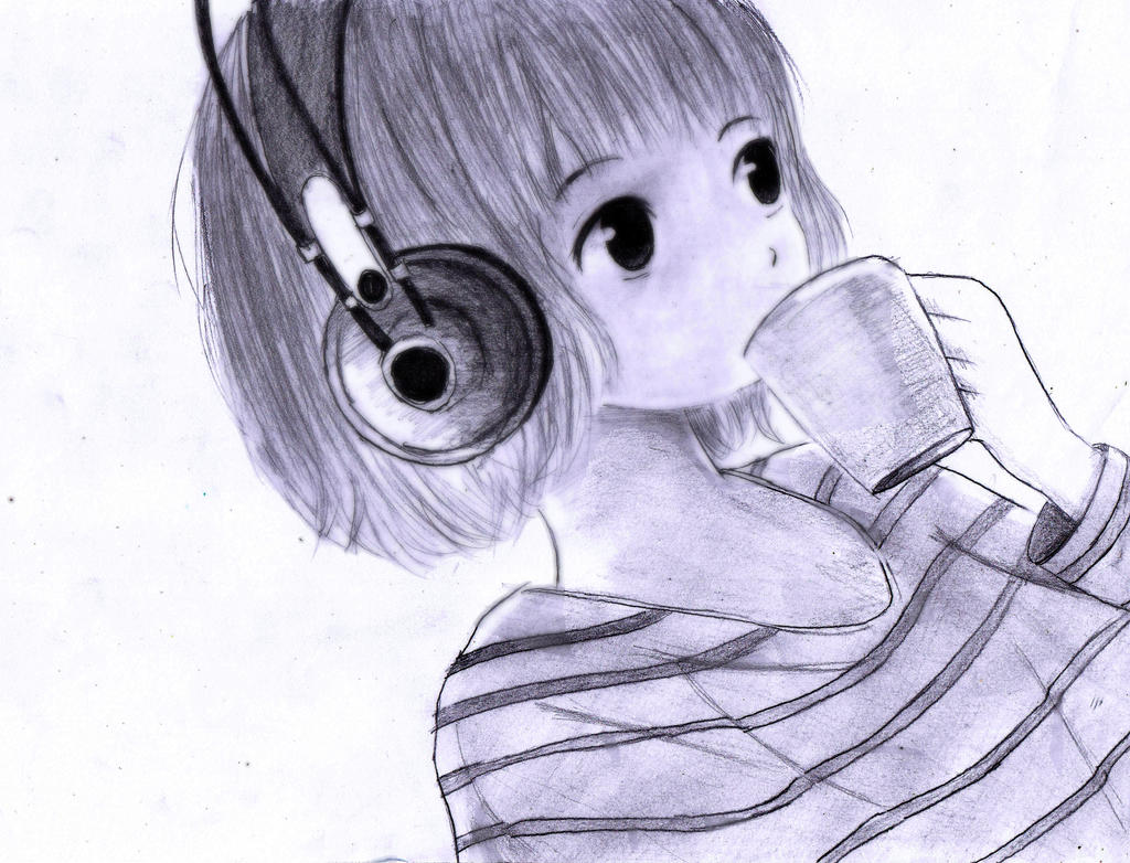 Short Hair Girl Listen Music By MR Suba