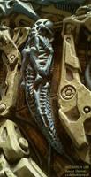 inspired by  Beksinski Giger alien xenomorph skull