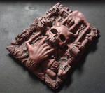 AVE mechanism industrial goth hand skull horns art