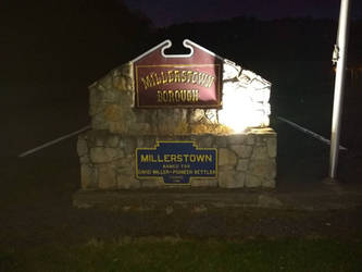 Millerstown Borough Sign At Night by kdawg7736