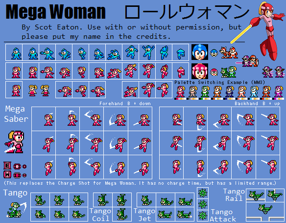 Megawoman (Rollwoman) Sprite Sheet (v.1) By BleuVII On