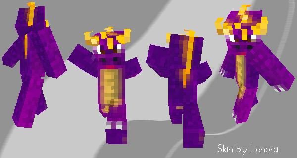 Minecraft skin - Spyro by Lenora-chan on DeviantArt | 600 x 320 png 24kB