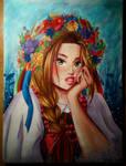 Polish girl in a traditional folk costume