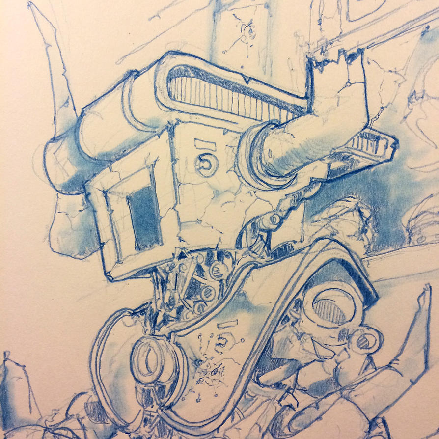 Robot Dragon Slayer Sketch by Pencilbags