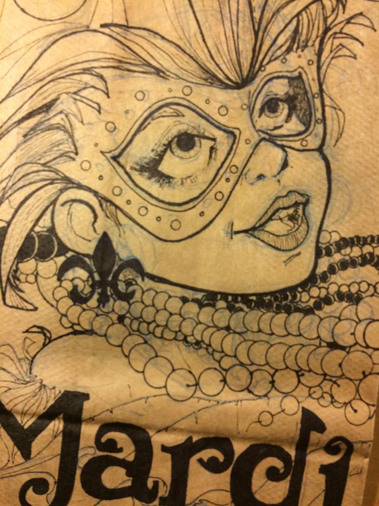Mardi Gras lunch bag Sketch by Pencilbags