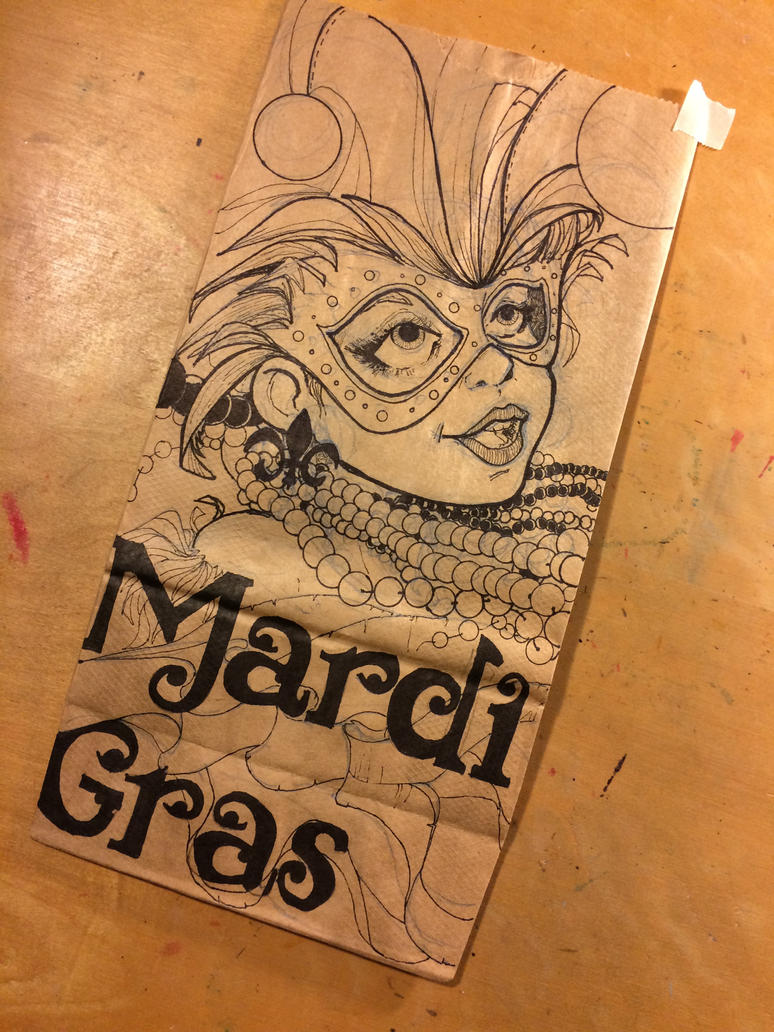 Mardi Gras lunch bag Drawing by Pencilbags