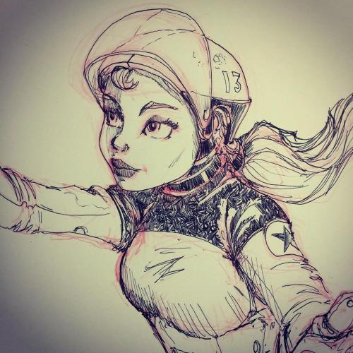 Spacegirl Ballpoint Pen Sketch by Pencilbags