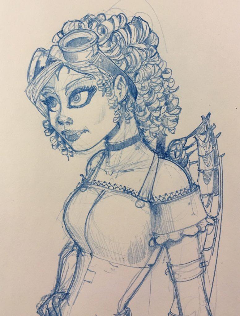 Steampunk Fairy Sketch V by Pencilbags