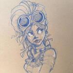 Steampunk girl pencil sketch