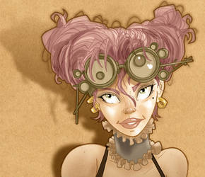 Steampunk Goggles Girl - Digital updated by Pencilbags
