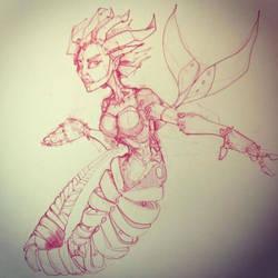 Robot Mermaid Sketch by Pencilbags