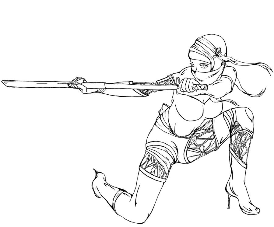 Line Art Ninja : Bionic ninja girl line art by felt tip pens on deviantart