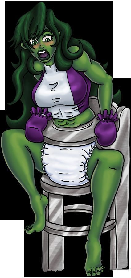She Hulk Locked In Diapers By Jamjarmonster/WishBe by megabluex