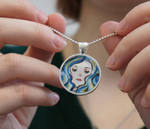 Blue-haired Girl Glass Pendant Necklace