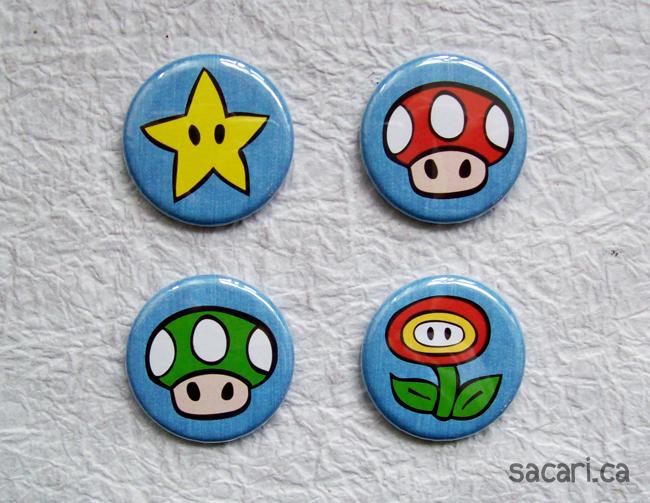 Mario Power-Ups Button Set! by Sacari