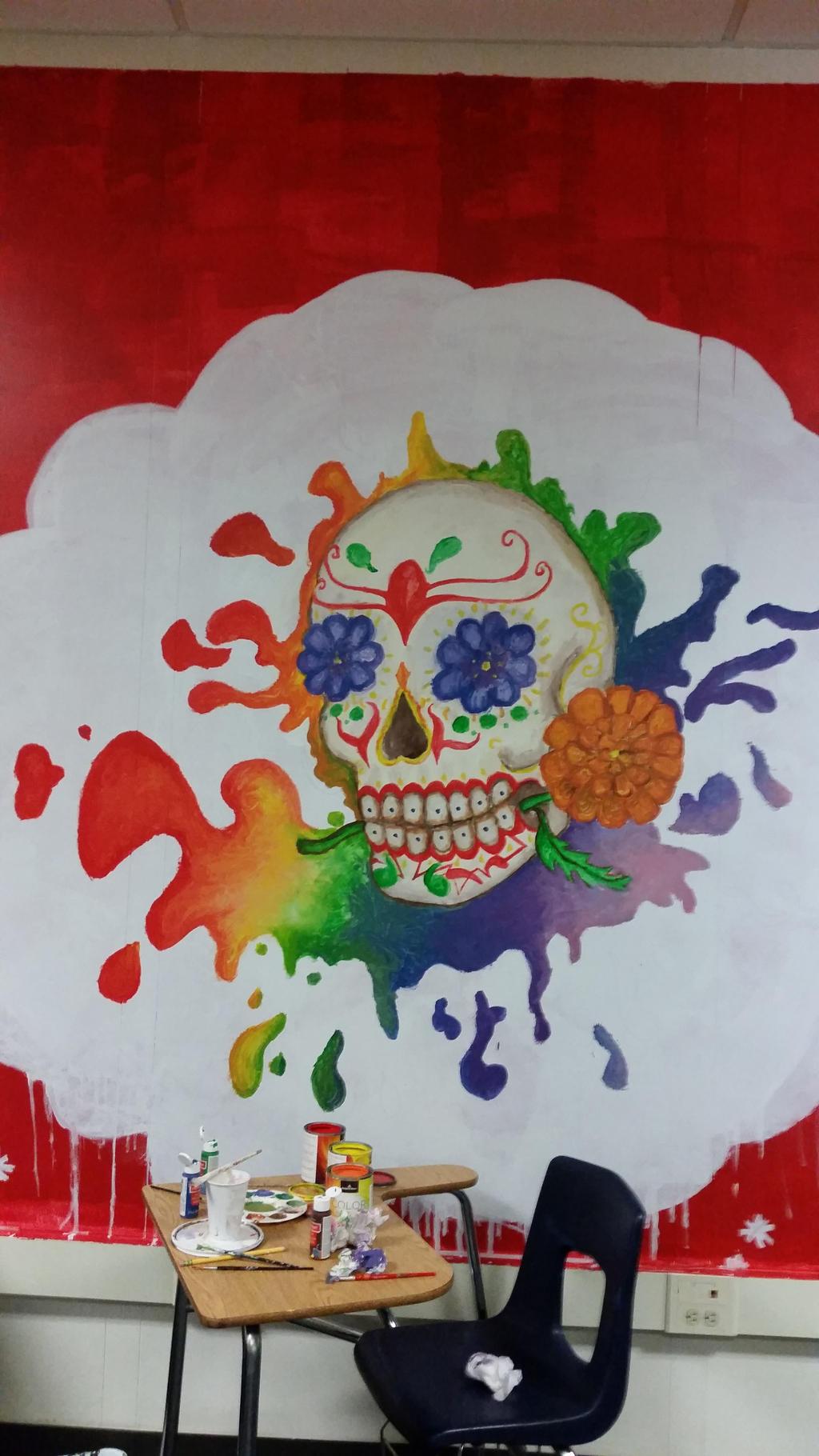Dia de los muertos mural by makaruwolf55218 on deviantart for Dia mural artist