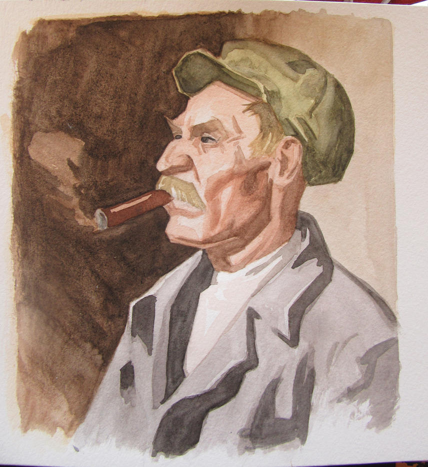 Portrait of a Sailor - Watercolor painting by Ares777