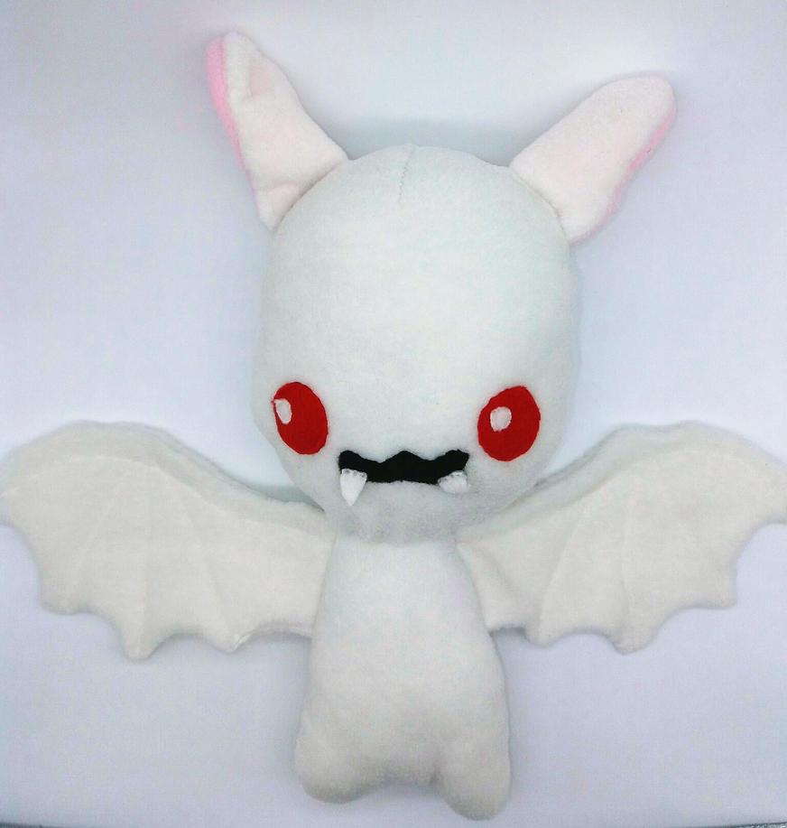 Cute White Vampire Bat Plush by Gemlettuce