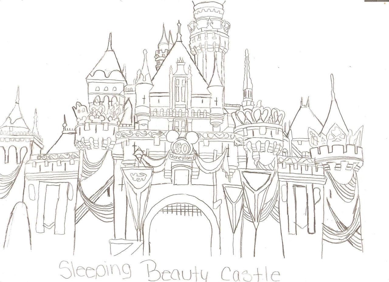 Disneyland Castle Drawing Sleeping beauty castle by Sleeping Beauty Castle Coloring Pages