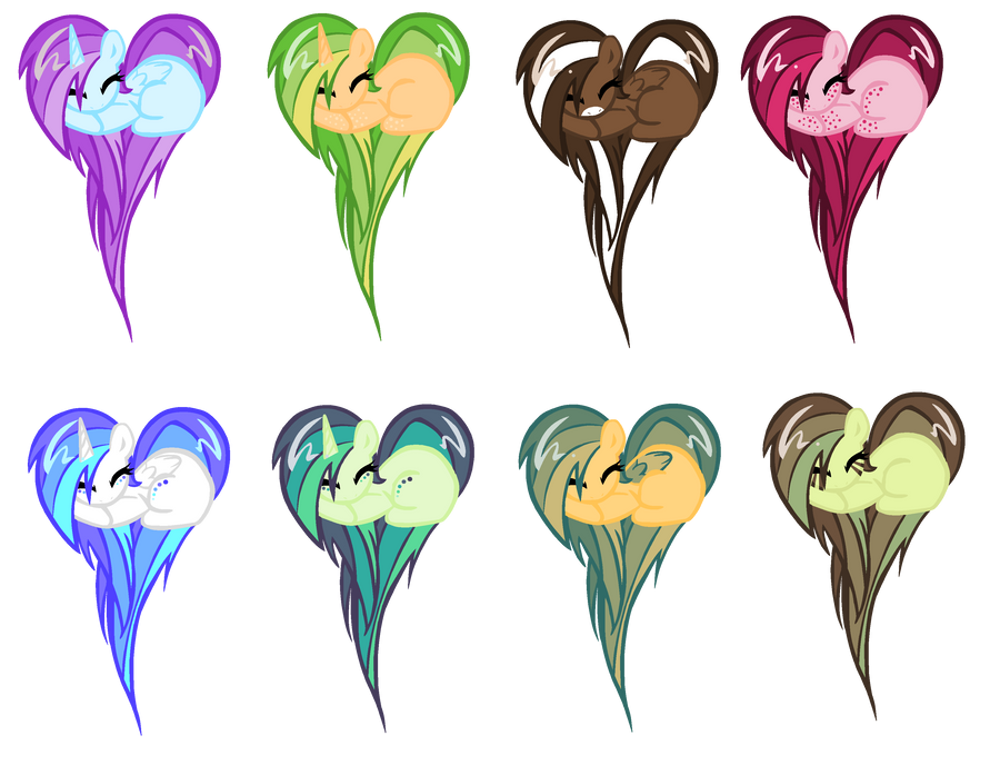 Heart Pony adopts: Now with markings! by MilkshakeAdopts