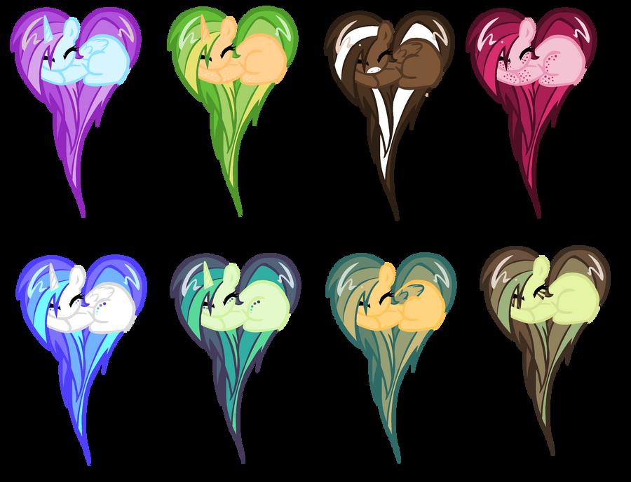 Heart Pony adopts: Now with markings! by MilkshakeAdopts