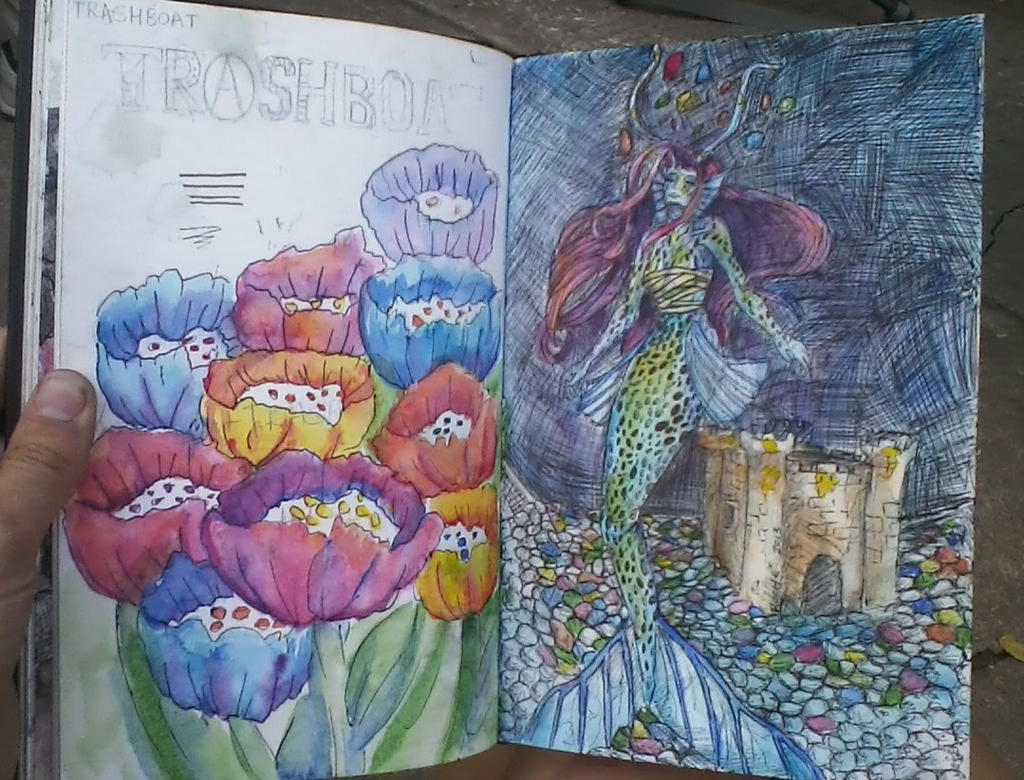 Sketchbook - Mermaid and flowers by telephonehome
