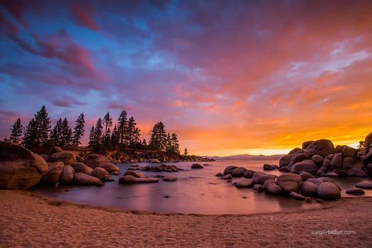 Sunset at Sand Harbor beach Lake Tahoe