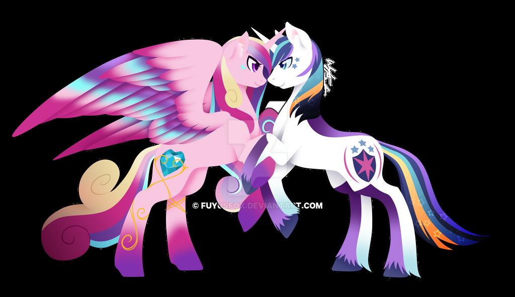 Rainbow Power Princess Cadence And Shining Armor By FuyusFox