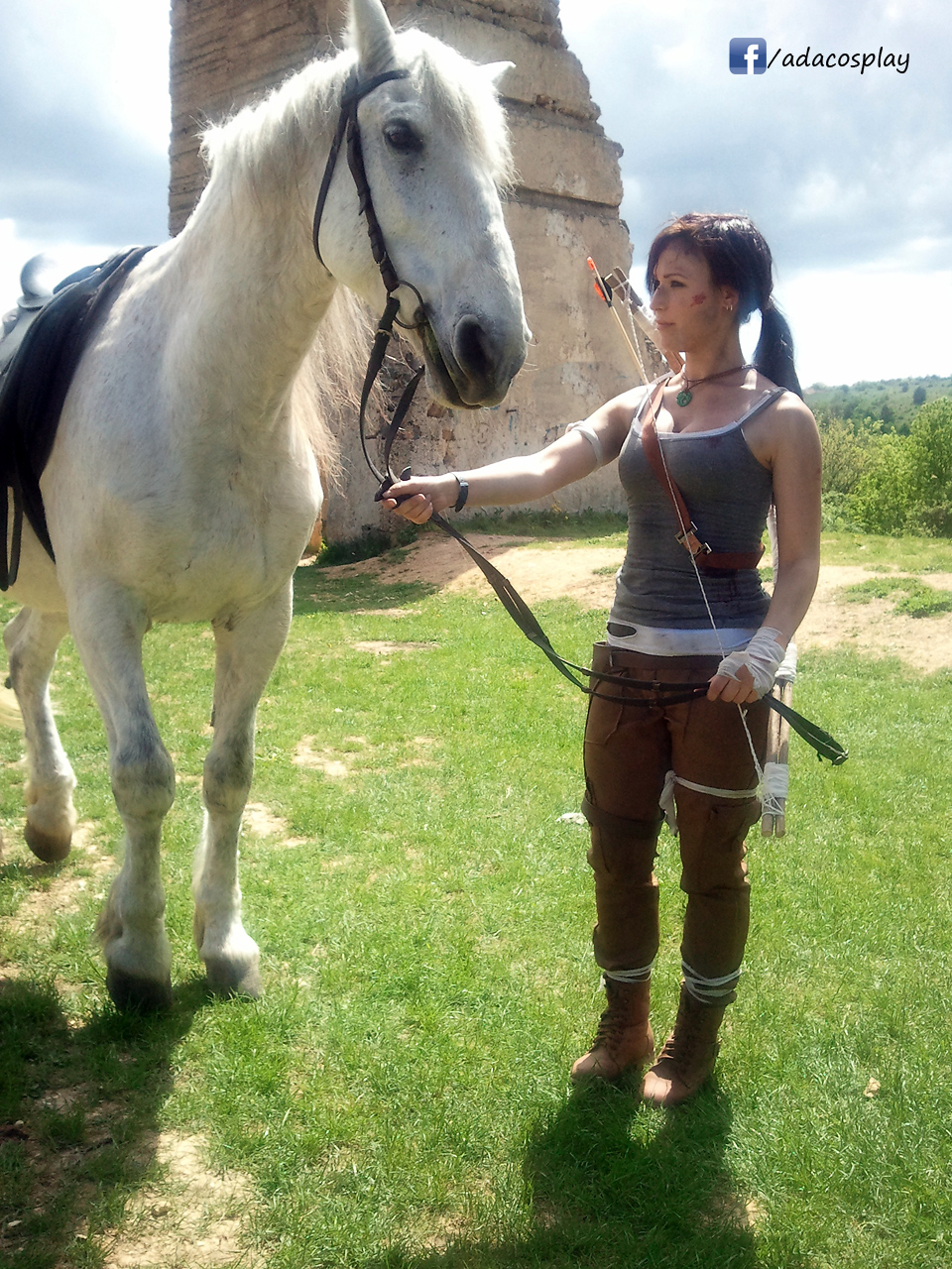 Lara croft with a horse
