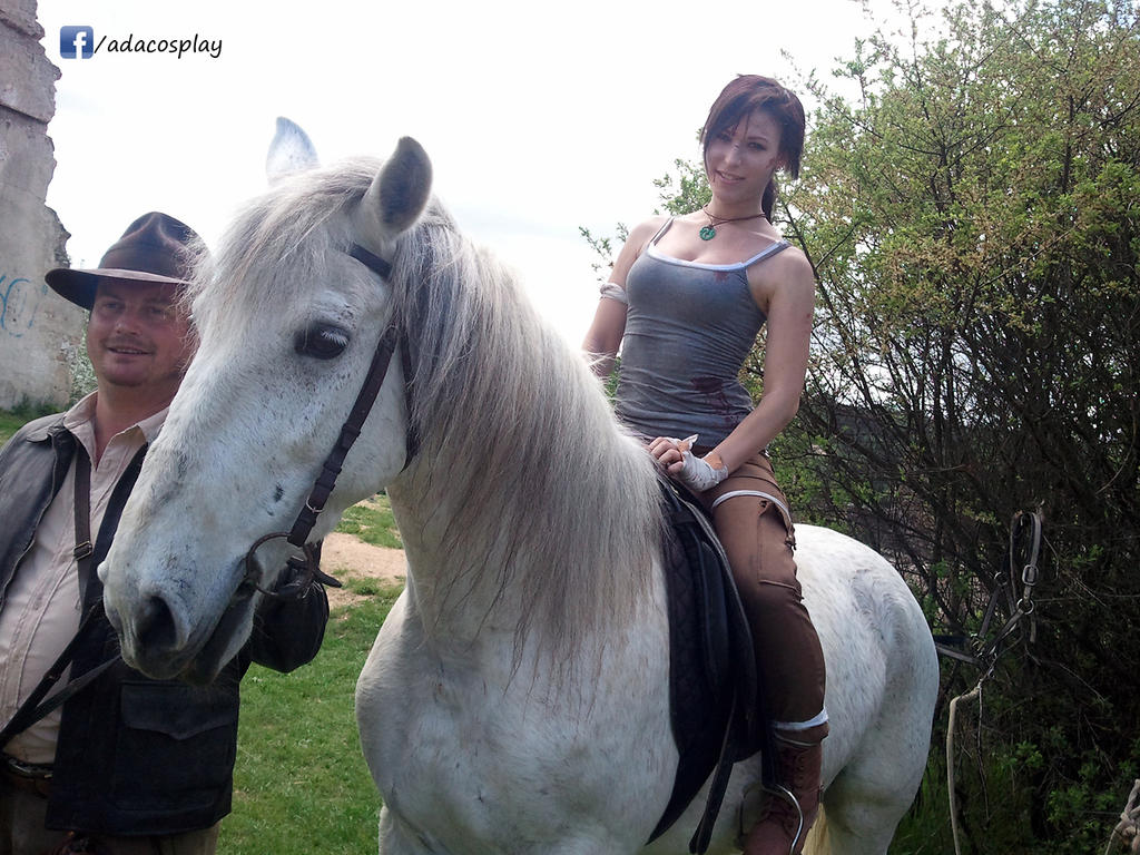 Indiana Jones and Lara Croft with Horse by AdaCroft on