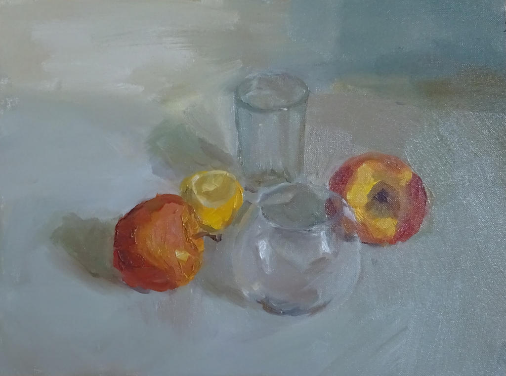 Still life (glass and fruits) by sergey-ptica
