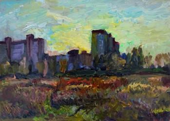 Noon autumn landscape with buildings