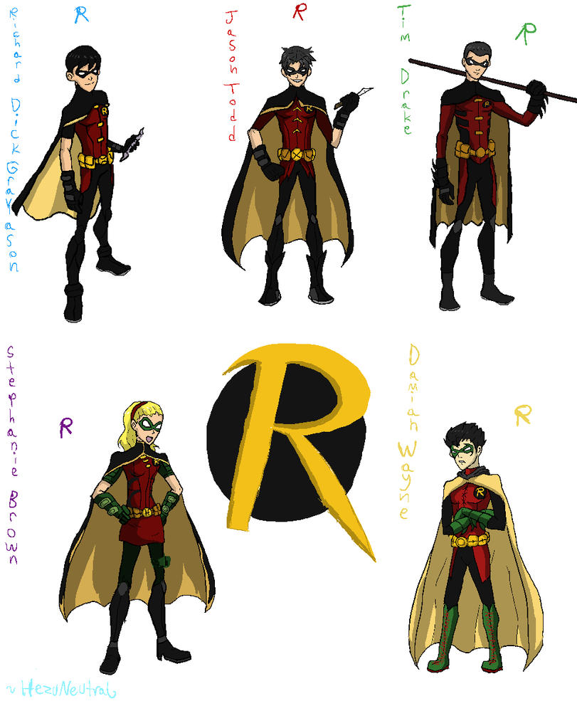 Young Justice Robins by HezuNeutral on DeviantArt Young Justice Robin Damian Wayne