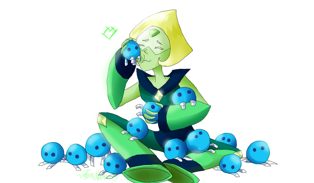 """aw, the little ones are like her babies!""  www.youtube.com/watch?v=MG7_bV… Say hello to the new gem, Peridot!  The gemstone of August!  my gemstone >u<  SHE IS SO ..."