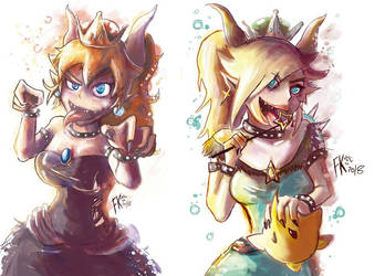 Bowsette and Bowsettelina by Francisco-K