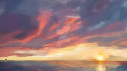 Sunset Over Distant Ocean