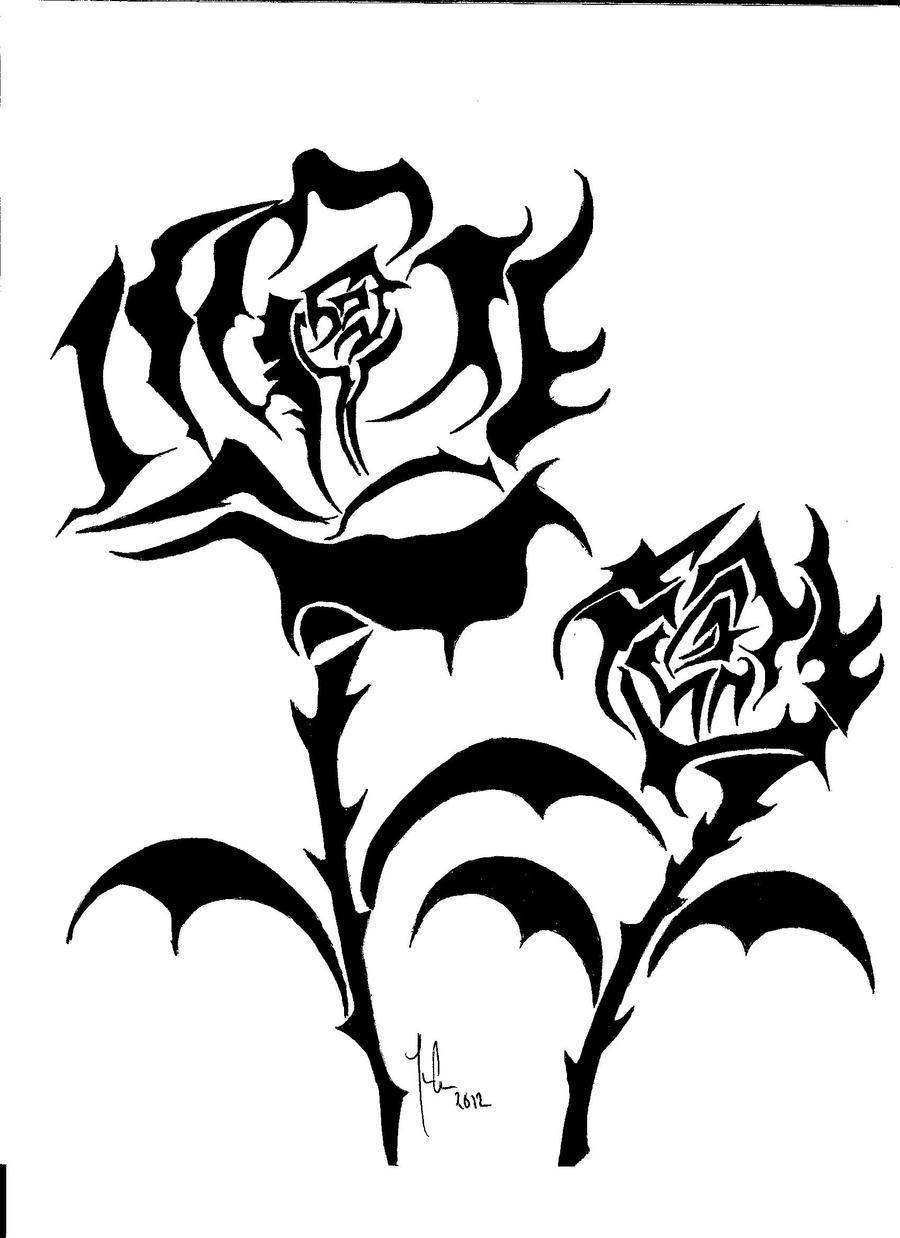 tribal roses by ouija68 on deviantart. Black Bedroom Furniture Sets. Home Design Ideas