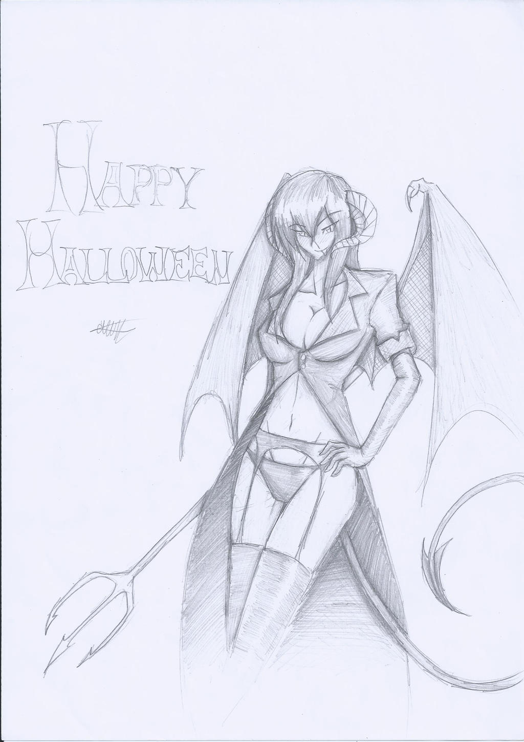 (PENCIL)Happy Halloween 2013: Succubus by CrazyNat2012