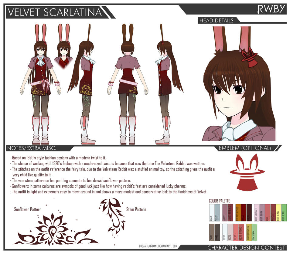 Rwby Character Design Contest : Velvet battle gear design contest entry by