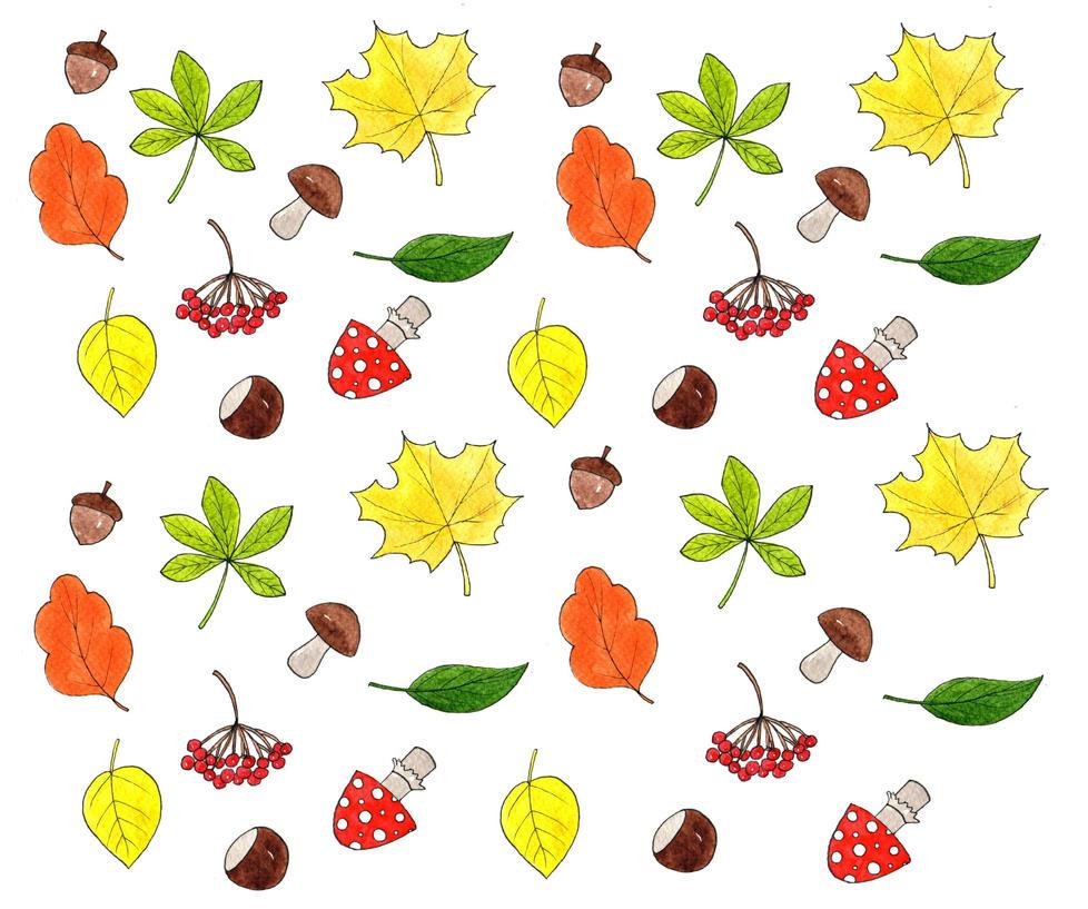 Autumn watercolor pattern by Sophia756