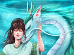 Chihiro and Haku || with painting process