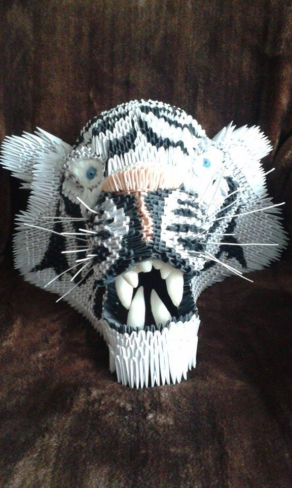3D Origami Tiger Head By Darkerthandark17