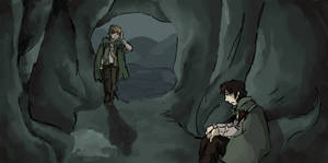 Sam and Frodo sitting in a cave I guess by JustALittleAmerican
